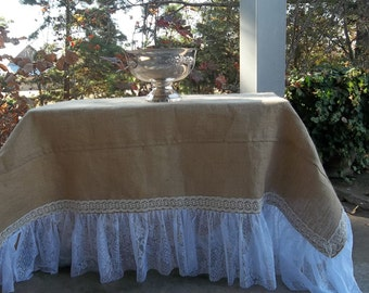Handmade Burlap Lace Tablecloth Ruffled Burlap Tablecloth Lace Ruffle Custom Sizes Floor Length Handmade Wedding Decoration Table Decor