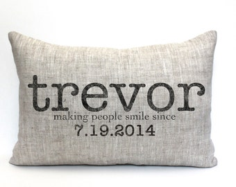 "baby gift, baby pillow, baby shower gift, child's name pillow, personalized pillow, birthday pillow, mothers day gift - ""The Trevor"""