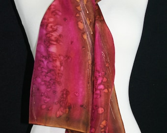 Cherry Red Silk Scarf. Cranberry Hand Painted Silk Shawl. Brown Handmade Silk Scarf CHERRY TREE, size 8x54. Birthday Gift, Bridesmaid Gift