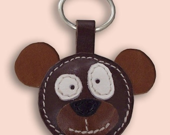Cute Little Brown Bear Leather Animal Keychain