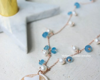 LYNE Necklace - 925 sterling silver 18K rose gold plated necklace with authentic shell cameo, star cameo, chalcedony and freshwater pearls