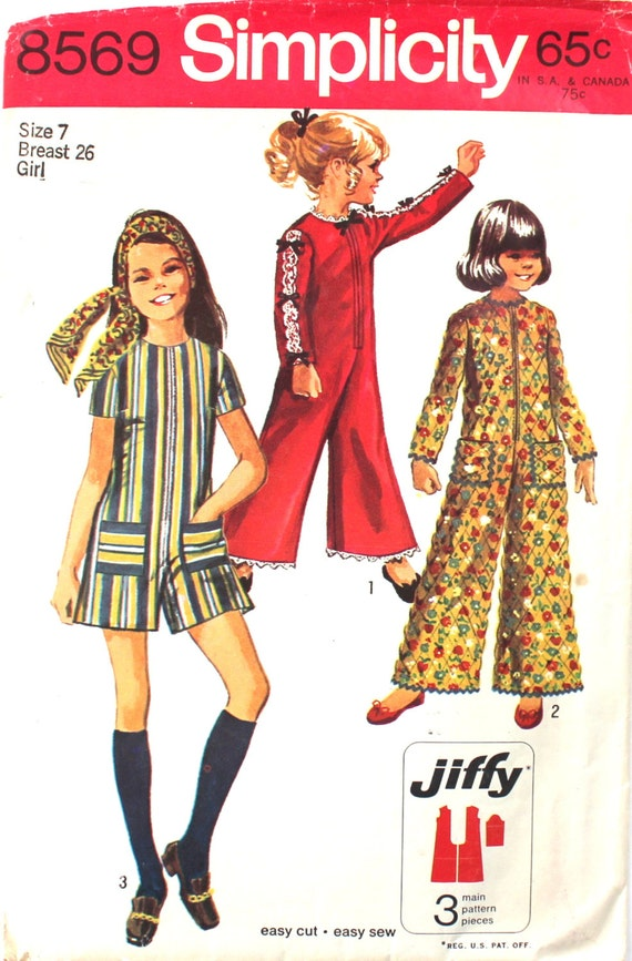 Girl\'s Jiffy Jumpsuit Size 7 Simplicity 8569 Vintage Sewing Pattern ...