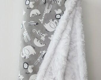 Gray Jungle Print Minky Baby Blanket