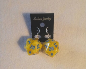 Yellow W/Blue D20 Vortex Charm Sterling Silver Shepherds Hooks with Loop earrings - 16mm