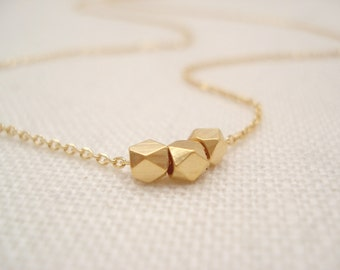 Tiny three gold nuggets necklace...Layering, simple everyday, Three sisters, best friend, sorority, bridesmaid gift