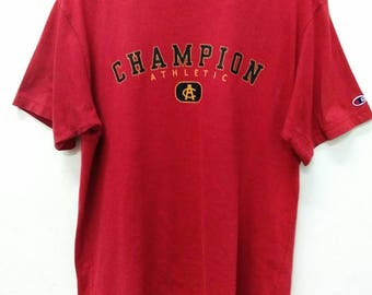 Vintage 90s Champion T Shirt Size L / Authentic American Athletic Apparel Since 1919 / Rare Vintage Shirt / Embroidery Champion Athletic