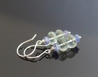 Amethyst earrings, tanzanite earrings, prasiolite earrings, green amethyst jewelry, tanzanite jewelry gift for her, Argentium silver wires