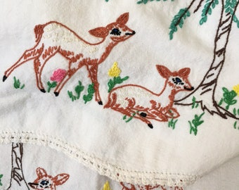 Vintage hand made and embroidered table running with deer motif