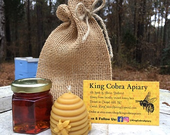 Raw Honey, Stocking Stuffer, Beeswax Candle, Honey, Bee Skep Candle, Christmas Present, Gift, Holiday Present, Christmas Gift