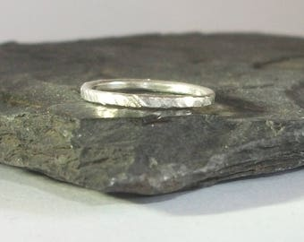 Sterling Silver Ring / Thumb Ring / Small-Medium / Hammered Tree Bark Effect / 298S - Ready to Ship