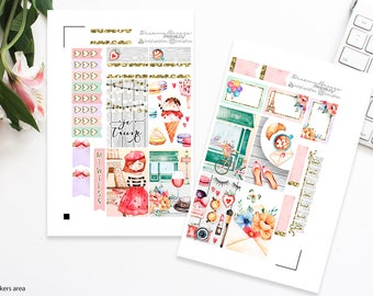Valentine's Mini Kit | Je T'aime | Printable Planner Stickers | Happy Planner