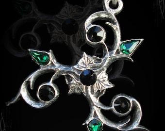 Handmade gothic trisquelion, triskele pendant, with swarovski of your choice. Gothic Jewelry