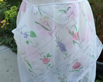 Vintage White Nylon Sheer Half Apron with Birth Month Flowers