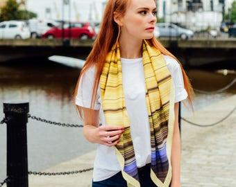 Silk scarf, Digitally printed scarf, Yellow scarf, Printed scarf, Luxury scarf, For her, Patterned scarf, Made in Scotland, Handmade, Scarf