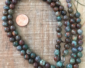 African Green Opal 8mm round bead, 16 inch strand, 51 beads