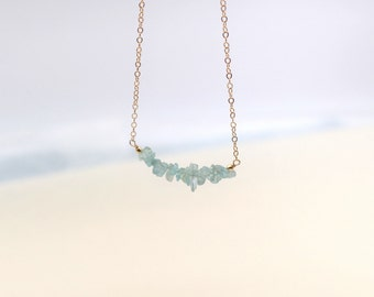 Aquamarine Rough Gemstones Necklace - March Birthstone Necklace - Bridesmaid Necklace - Boho Chic Gold-Filled Minimalist Jewelry -