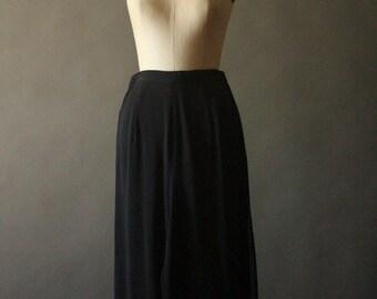 Vintage 90's Avant Garde High Waist Black Sheer Double Layer Palazzo Pants by Tadashi, size
