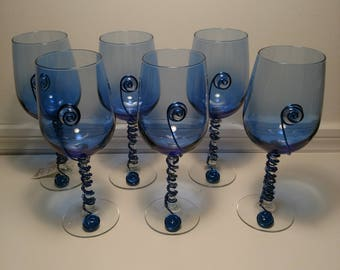 Set of 6 Blue Glass Wire Wrapped and Beaded Wine Glasses