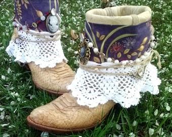 Upcycled Cowboy Boho Boots- Custom Vintage Repurposed-Manifest Destiny