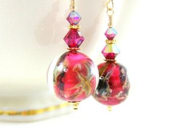 Ruby Red Gold Murano Earrings, Fuchsia Calcedonia Earrings, Glass Dangle Earrings, Pink Drop Earrings Earrings Murano Jewelry Round Earrings