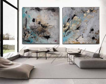 90x45inch, Set of Two Paintings, Abstract Watercolor Print, Gold Leaf Painting, Teal, Turquoise, Black and Gold Print, Extra Large Wall Art