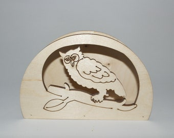 Ash-Wood owl napkin in beech cm 15 x 10 x 5