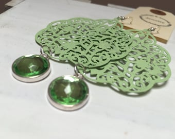 Boho Light Green Painted Filigree Chandelier Earrings with Acrylic Drops