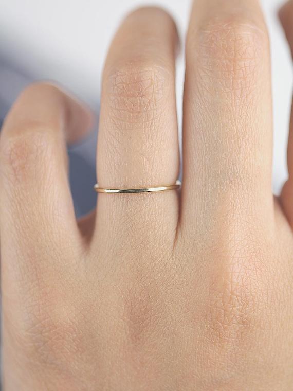 Wedding Band Gold Thin Band Minimalist Ring 18K 14K 10K