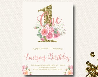 First Birthday Invitation Floral Crown Boho Girl Birthday Invite Birthday Party Woodland Invitation 1st Birthday Girl Printable Template