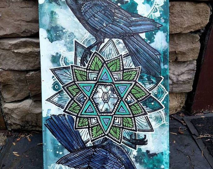 "Original ""Snow Crows"" Corvid Winter Mandala Painting by Lynnette Shelley"