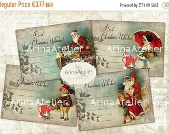 SALE - 40% OFF Tags Notes for Santa Claus - Digital Tags - set tags - Digital Images - ATC cards - digital download - Digital labels