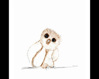Baby owl watercolour, Original painting, baby owl art, woodland animals, baby animals art, birds art, birds watercolour, baby owl 9 x 12