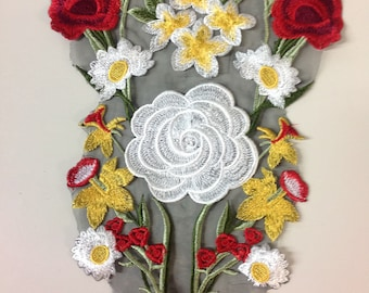 Rose embroidered appliqué