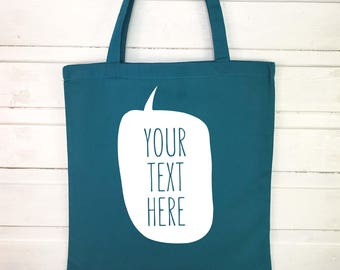 Personalised tote bag - quote tote bag with customised message - canvas bag gift for her - custom shoulder bag - speech bubble tote bag