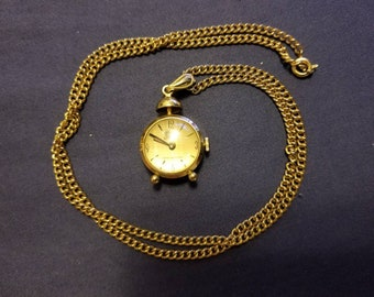 Vintage Gervais Penard Alarm Clock Case Necklace Pendant Watch