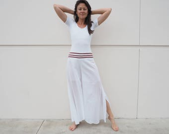 Gauze Shanti Flow Pants in WHITE // Partially Lined, Moisture Wicking, Yoga, Ceremony, Biking, Play! Flexible Waistband.