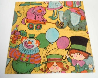 Vintage Children's Birthday Wrapping Paper Yellow Circus Clowns Elephants Gift Wrap