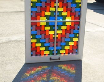 """Stained Glass Mosaic Wooden Window Repurpose """"The Rainbow Weaver"""""""
