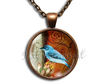 Blue Jay Bird - Round Glass Dome Pendant or with Necklace by IMCreations - AN119