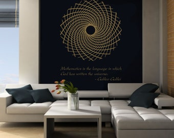 Science art Galileo Galilei quote & Fibonacci flower vinyl wall decal - removable wallpaper / sticker