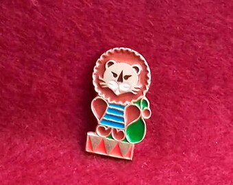 Lion in the circus.  Vintage collectible childrens soviet pin badge. / Made in USSR, 1980s