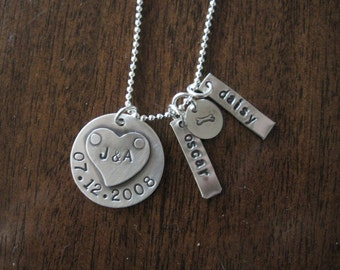 Stamped necklace with pet names We are a couple and dogs are our kids sterling silver necklace