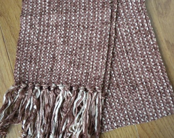 Handwoven Scarf in Rust and Peach Rayon Chenille