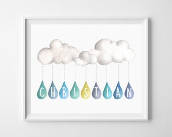 Personalised First Name Poster - Nursery Poster - Baby Boy, Clouds, Rain, Watercolor