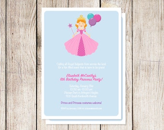 Princess party invitation, princess birthday party invitation, printable princess party invitation, custom invitation, royal ball party