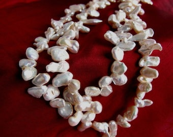 Sale Keshi PearlDouble Strand Necklace,Exotic Natural High Luster Double Strand Organic Baroque Pearl Statement Necklace,One of a Kind,05
