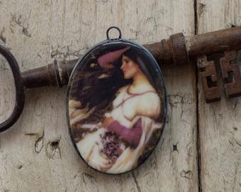 Handmade decal charm. John William Waterhouse: windflowers