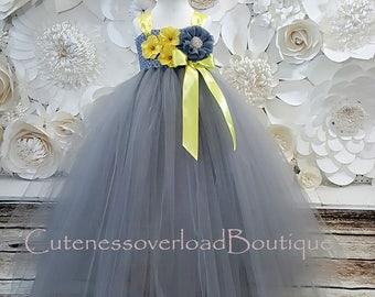 Yellow grey tutu etsy gray flower girl tutu dress gray mightylinksfo