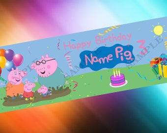 Peppa Pig Birthday Banner 2' X 6' (feet)