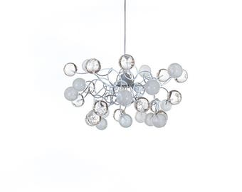 Ceiling light, island lighting with bubbles white and clear transparent bubbles, pendant light for living room, for girls or boy bedroom .